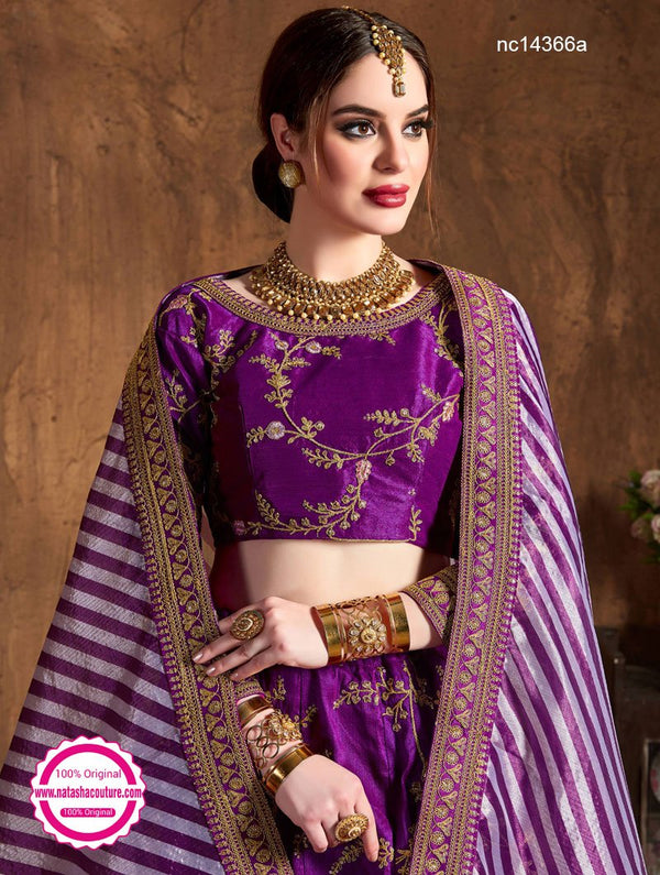 Purple Silk Lehenga Choli NC14366A