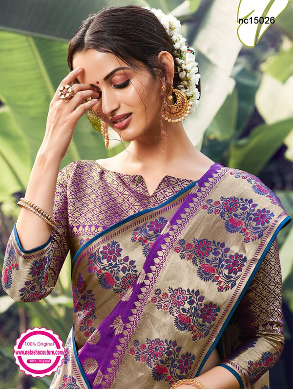 Purple Silk Saree NC15026