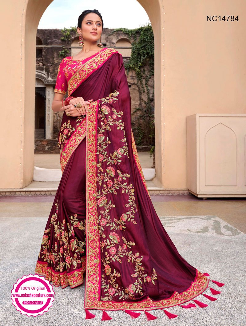 Purple Silk Satin Saree NC14784