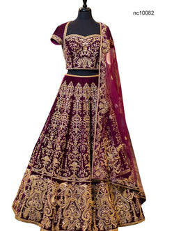 Purple Velvet Bollywood Lehenga Choli NC10082