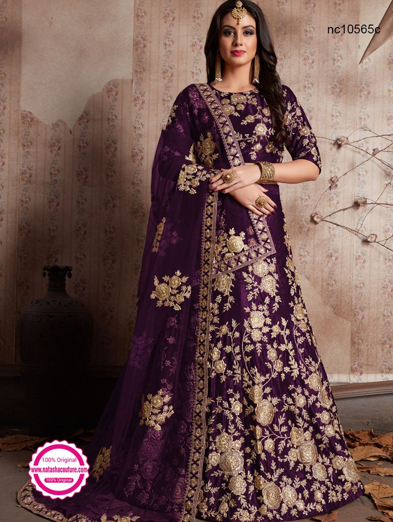 Purple Velvet Silk Lehenga Choli NC10565C