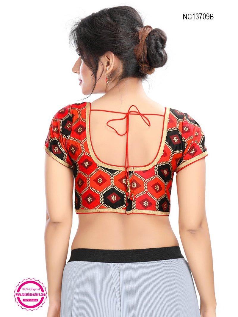 Red & Black Brocade Readymade Blouse NC13709B