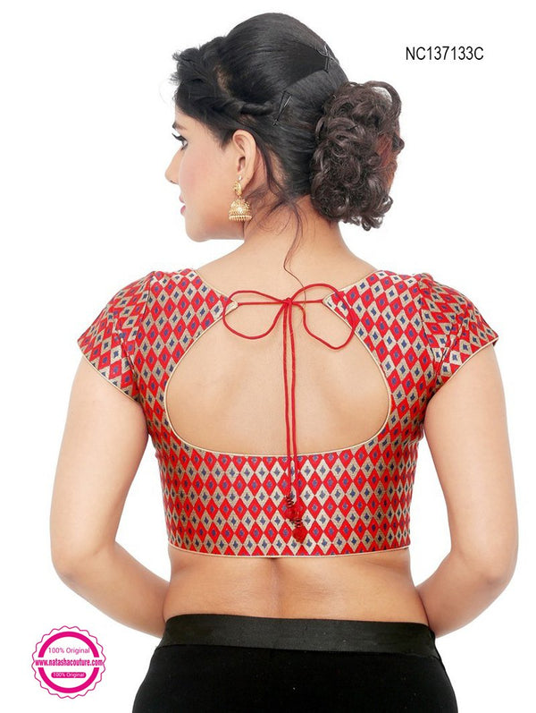 Red Brocade Readymade Blouse NC137133C
