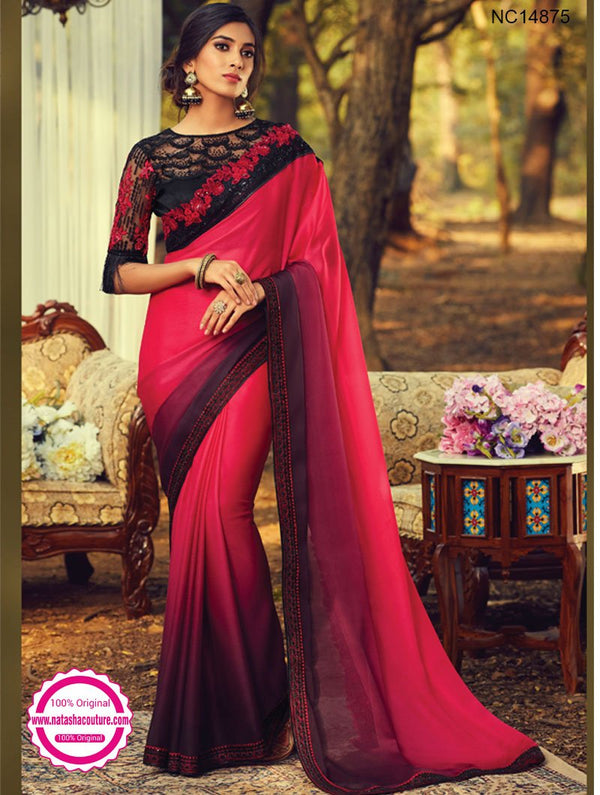 Red & Burgundy Shaded Silk Saree NC14875