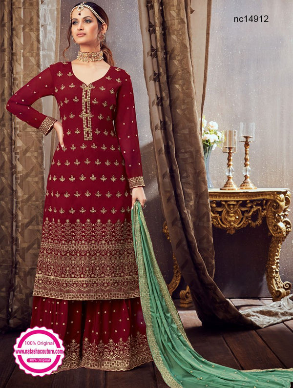 Red Georgette Palazzo Suit NC14912