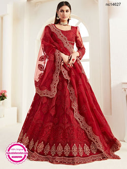 Red Net Bridal Lehenga Choli NC14627