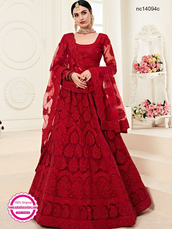Red Net Designer Lehenga Choli NC14094C