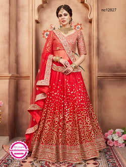 Red Net Lehenga Choli NC12827