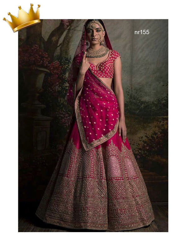 Red Pure Raw Silk Exclusive Designer Lehenga Choli NR155