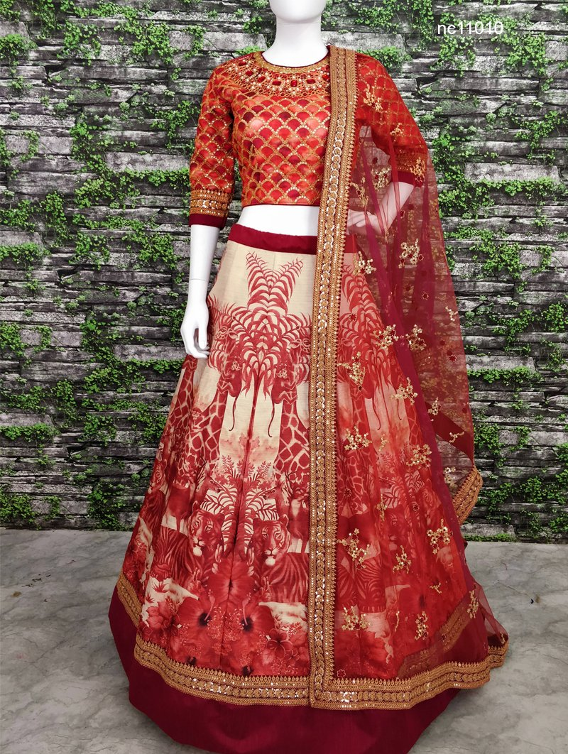 Red Silk Bollywood Lehenga Choli NC11010