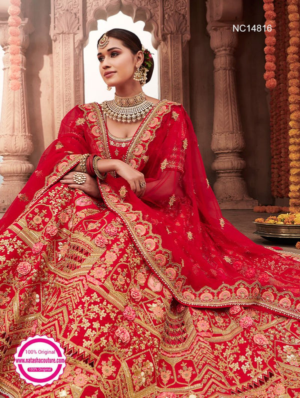 Red Silk Bridal Lehenga Choli NC14816