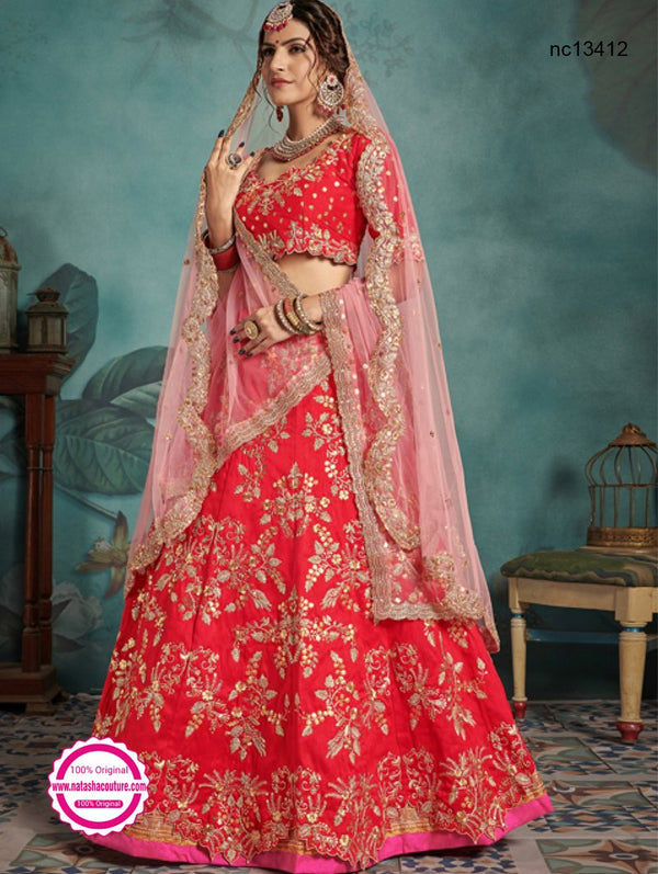 Red Silk Designer Lehenga Choli NC13412