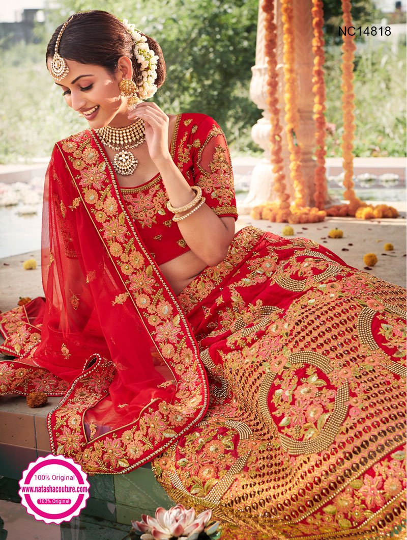 Red Silk Designer Lehenga Choli NC14818