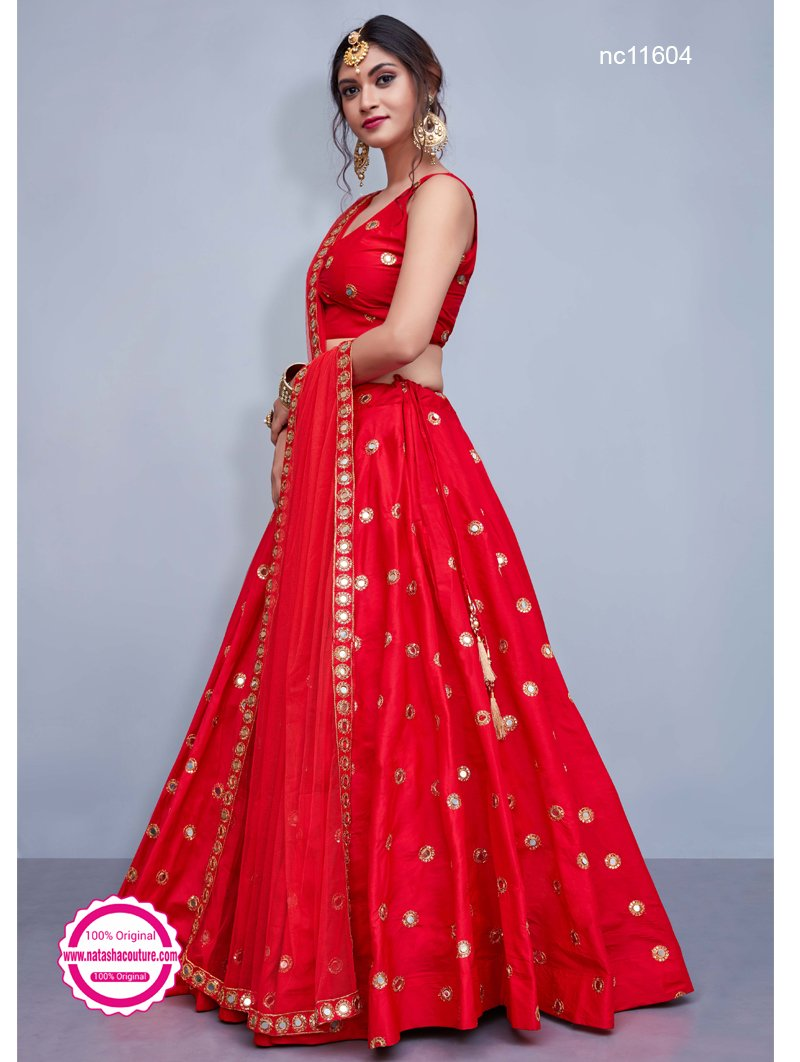 Red Silk Designer Readymade Lehenga Choli NC11604