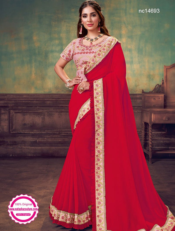Red Silk Georgette Saree NC14693