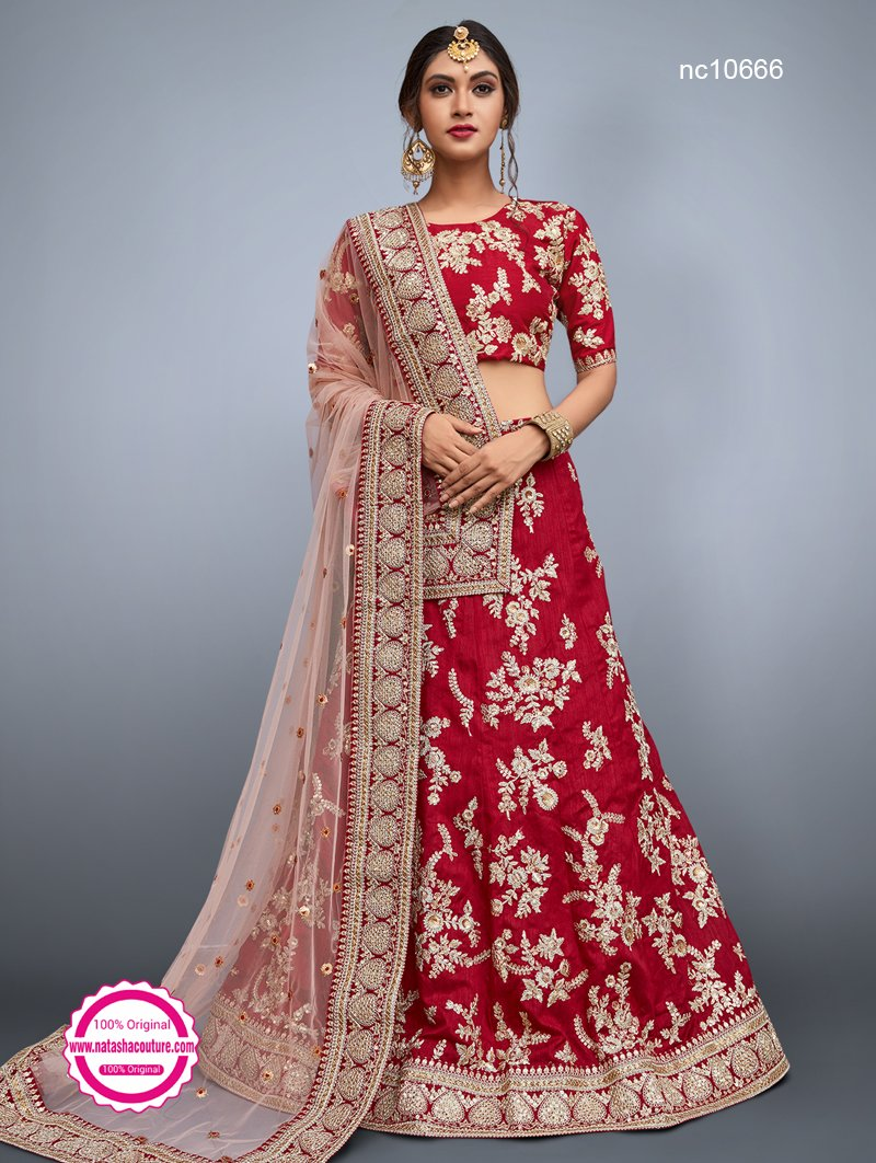 Red Silk Lehenga Choli NC10666