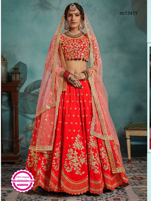 Red Silk Lehenga Choli NC13411