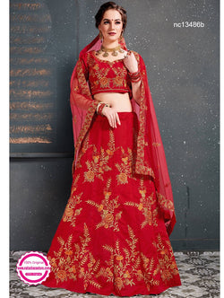 Red Silk Lehenga Choli NC13486B