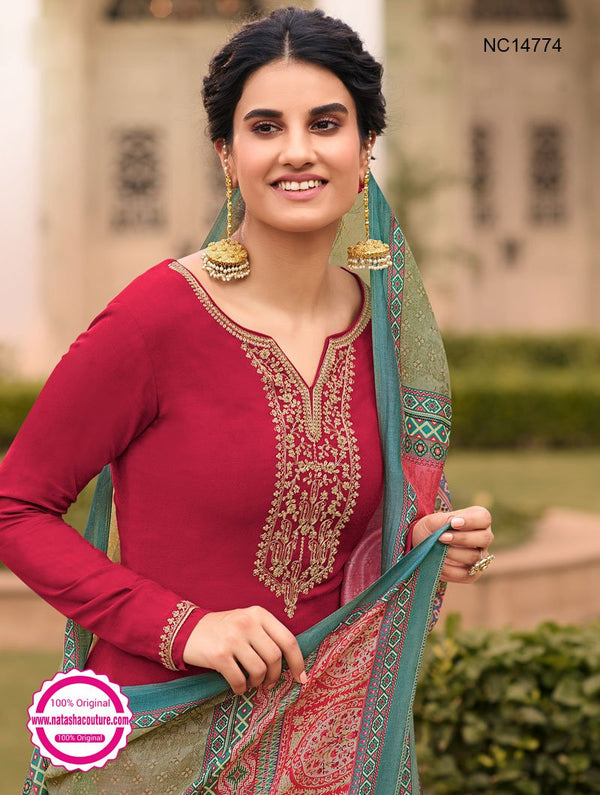 Red Tussar Silk Palazzo Suit NC14774