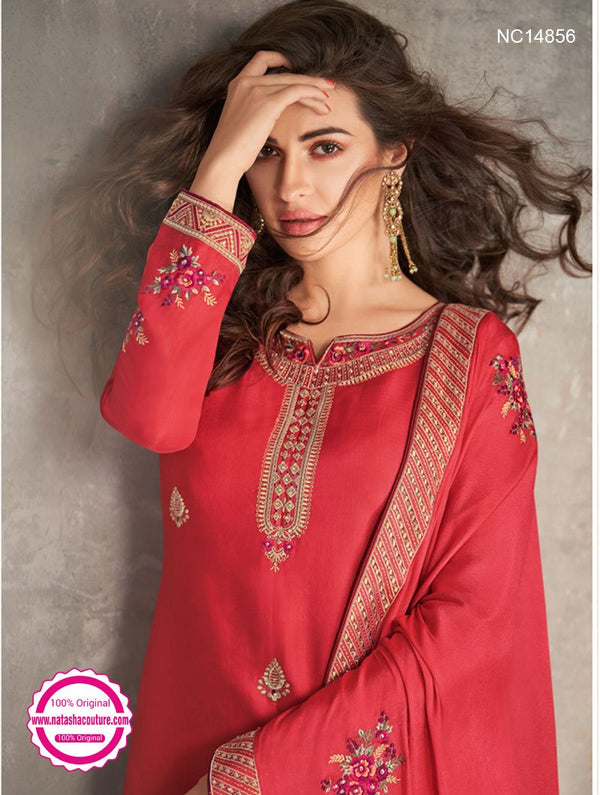 Red Tussar Silk Palazzo Suit NC14856