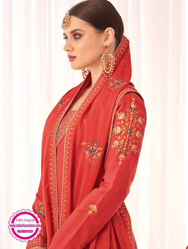 Red Tussar Silk Palazzo Suit NC15379