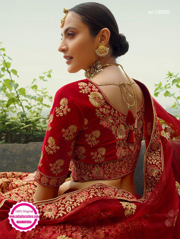 Red Velvet Bridal Lehenga Choli NC14660