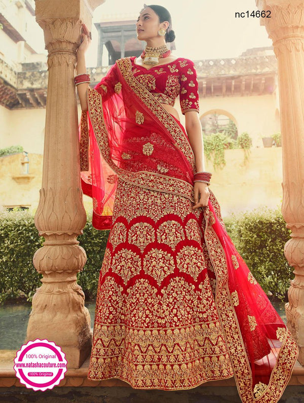 Red Velvet Bridal Wear Lehenga Choli NC14662
