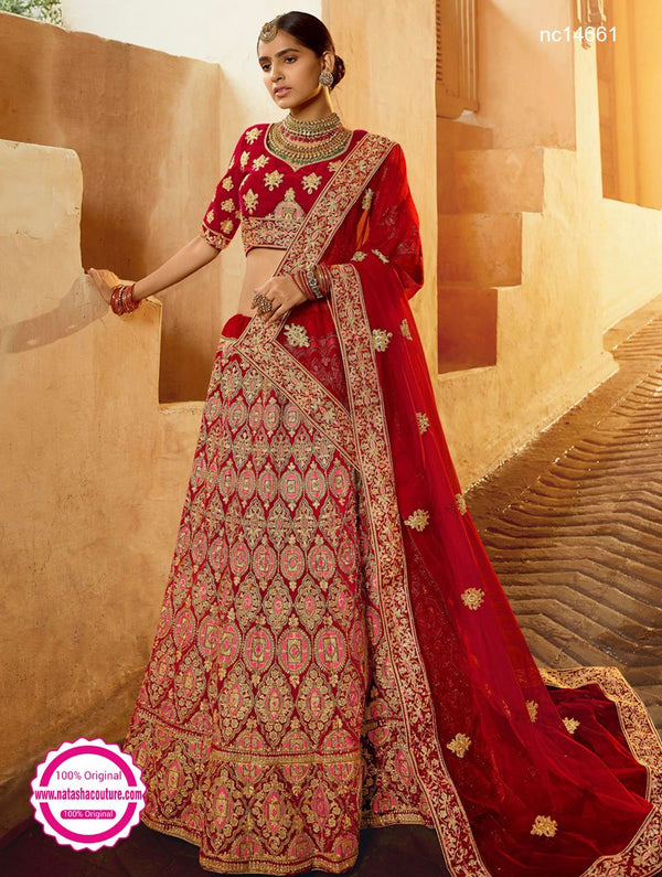 Red Velvet Wedding Wear Lehenga Choli NC14661