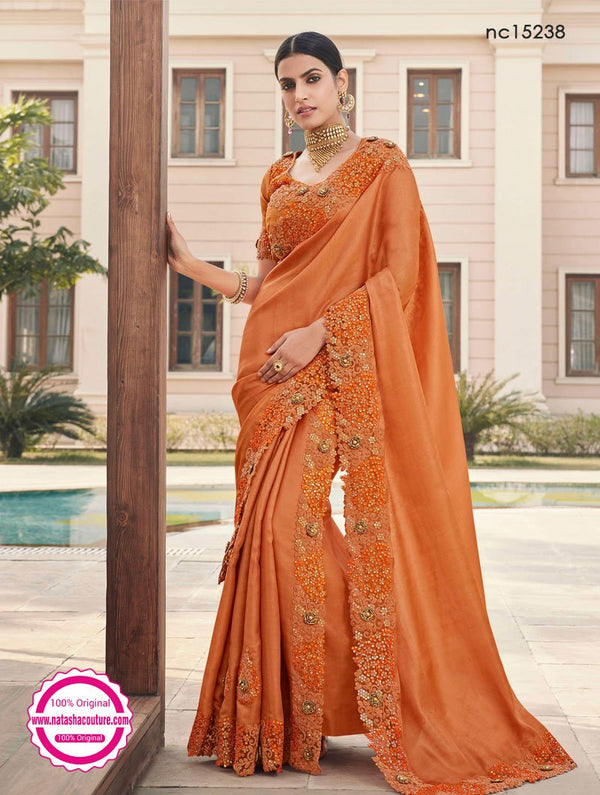 Rust Satin Georgette Saree NC15238