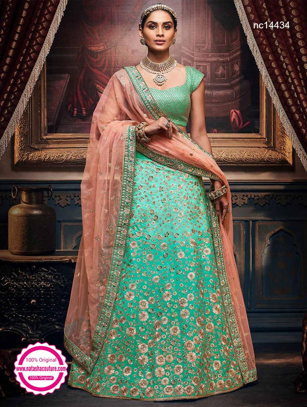 Sea Green Handloom Silk Lehenga Choli NC14434