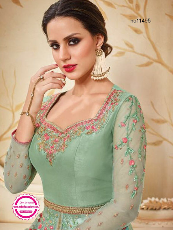 Sea Green Net Anarkali Suit NC11495