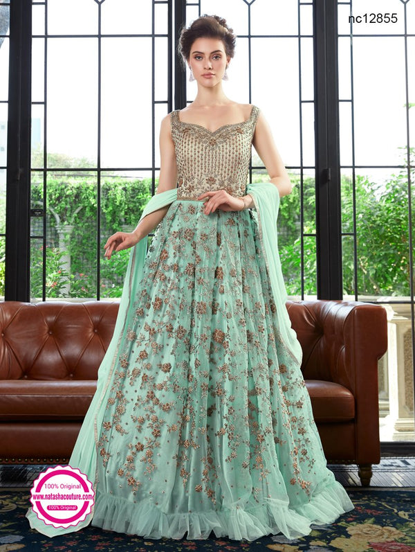 Sea Green Net Anarkali Suit NC12855