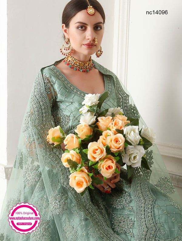 Sea Green Net Lehenga Choli NC14096