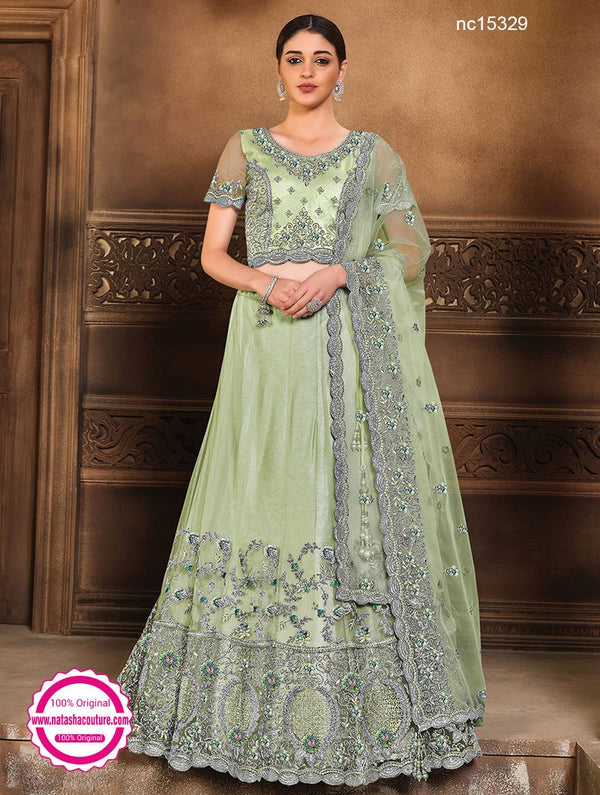 Sea Green Net & Satin Silk Lehenga Choli NC15329