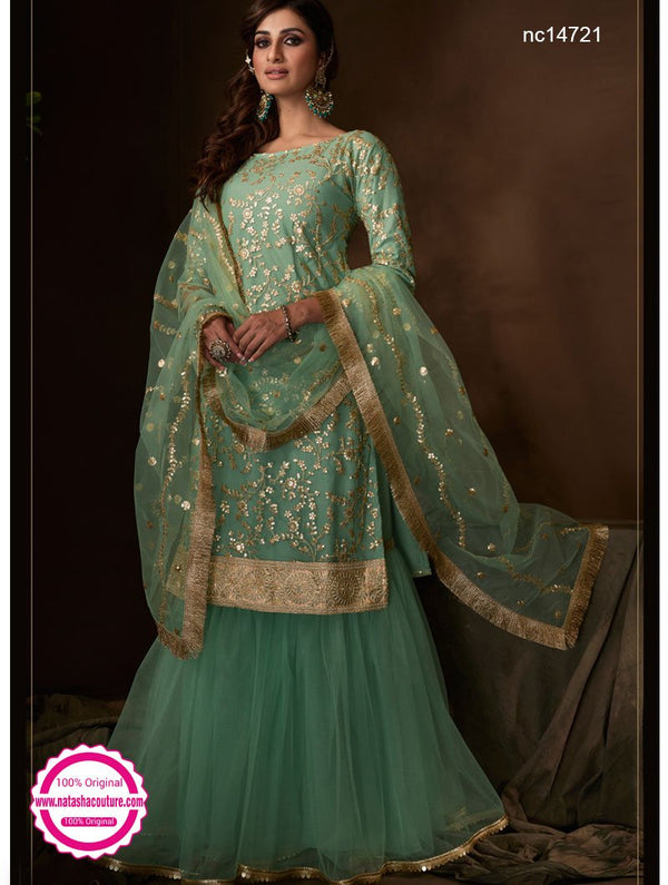 Sea Green Net Sharara Pants Suit NC14721