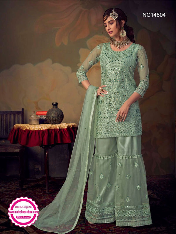 Sea Green Net Sharara Pants Suit NC14804