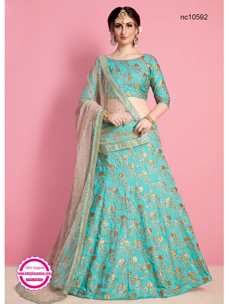 Sea Green Silk Lehenga Choli NC10592