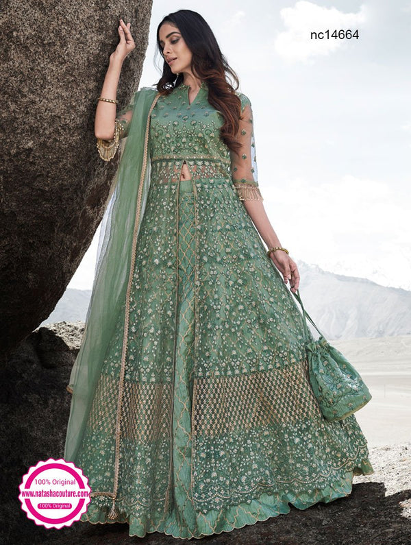 Sea Green Silk & Net Anarkali Lehenga NC14664