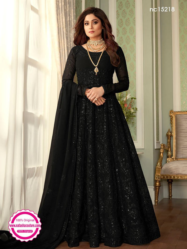Shamita Shetty Black Georgette Anarkali Suit NC15218