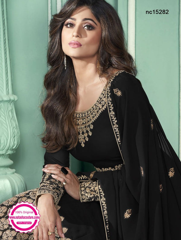 Shamita Shetty Black Georgette Anarkali Suit NC15282