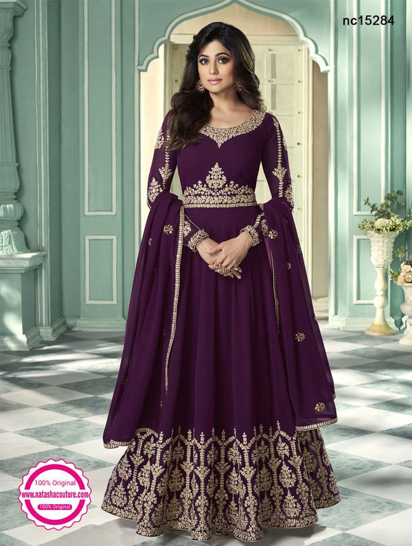 Shamita Shetty Burgundy Georgette Anarkali Suit NC15284