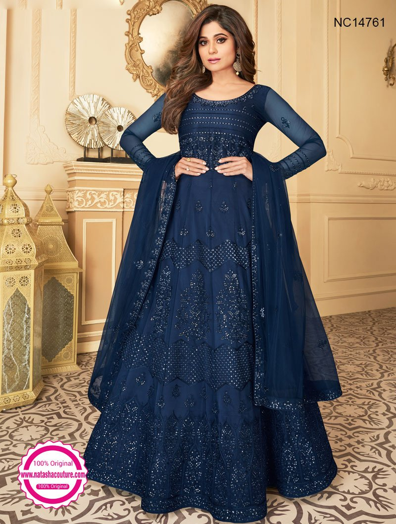 Shamita Shetty Dark Blue Net Anarkali Suit NC14761