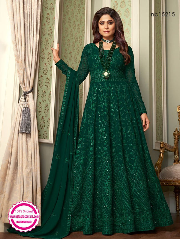Shamita Shetty Dark Green Georgette Anarkali Suit NC15215