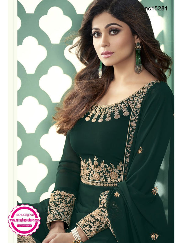 Shamita Shetty Dark Green Georgette Anarkali Suit NC15281