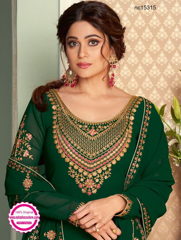 Shamita Shetty Dark Green Georgette Lehenga & Long Top NC15315