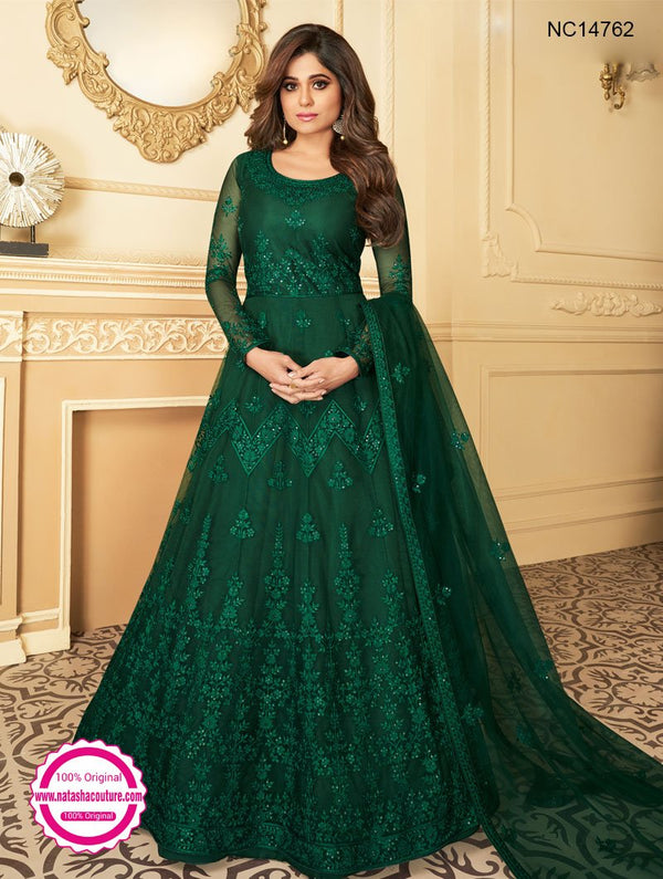 Shamita Shetty Dark Green Net Anarkali Suit NC14762