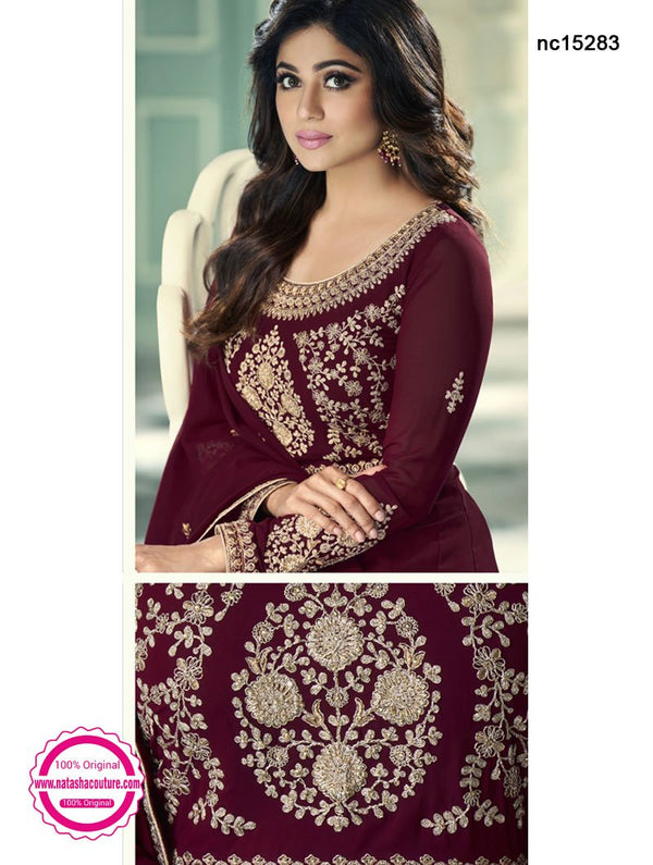 Shamita Shetty Deep Maroon Georgette Anarkali Suit NC15283