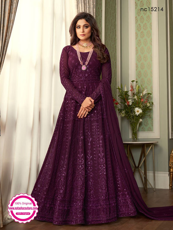 Shamita Shetty Deep Purple Georgette Anarkali Suit NC15214
