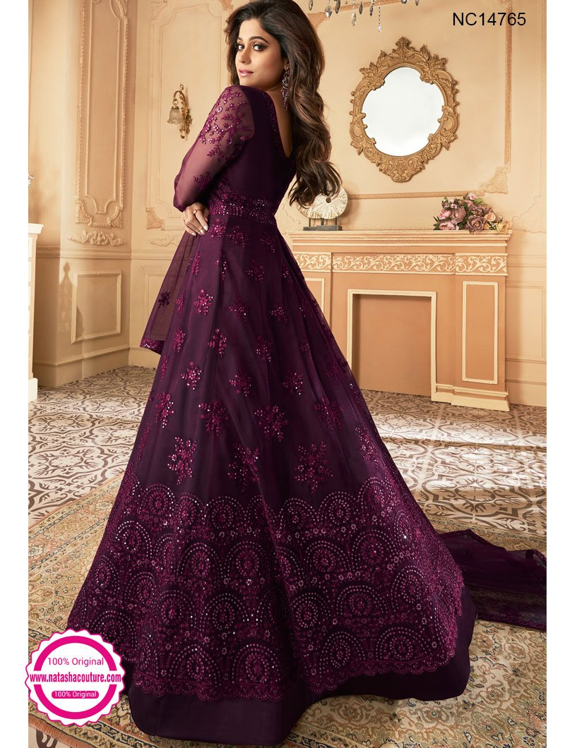Shamita Shetty Deep Purple Net Anarkali Suit NC14765