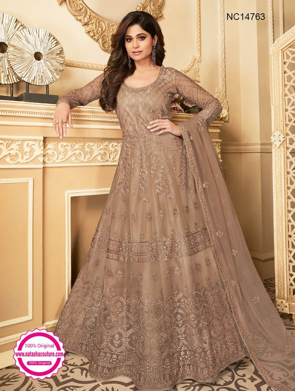 Shamita Shetty Light Brown Net Anarkali Suit NC14763